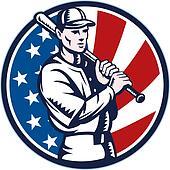 Baseball player holding bat american