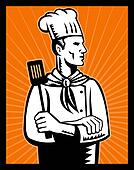 Retro Chef cook holding spatula