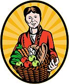 organic farmer basketful of crop harvest