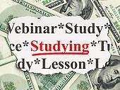 Education concept: Studying on Money background