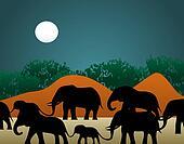 Elephant Family Illustration
