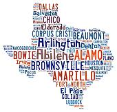 Word cloud showing the cities in Texas