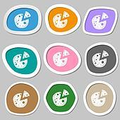 Pizza Icon. Multicolored paper stickers.