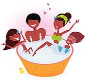 Happy family in whirlpool bath