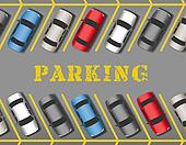 Cars park in store Parking Lot rows
