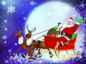 Reindeer sleigh and Santa