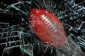 Football through glass.