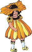 Black-eyed Susan or Rudbeckia hirta girl-flower