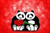 Happy Valentines Day Panda Couple Hearts Bokeh