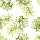 Watercolor  seamless pattern with palm tree leaf.