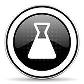 laboratory icon, black chrome button