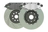 Car discs brake and caliper. 3D rendering