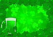 Shamrock Leaves Border Glass of Beer for St Patricks Day