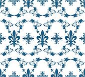 Seamless blue royal vector texture with fleur-de-lis