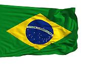 Flag of Brazil, fluttered in the wind