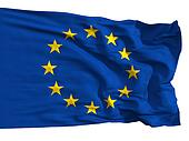 The European Union flag, fluttered in the wind