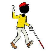 blind handicap man walking