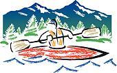 Crayon Kayak vector