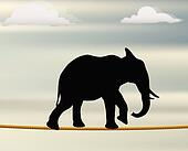 editable vector silhouette of African elephant on a rope in the air