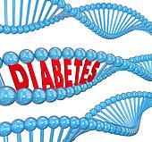 Diabetes Word DNA Strand Hereditary Blood Disease Biology