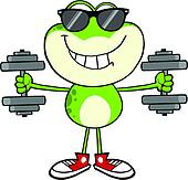Smiling Green Frog With Sunglasses