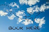 travel industry: airplane and air route or trail