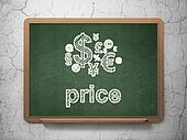 Marketing concept: Finance Symbol and Price on chalkboard background