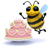 3d Honey bee has a birthday cake