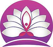 Yoga man lotus white flower logo