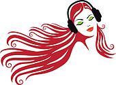 woman with headphones, vector