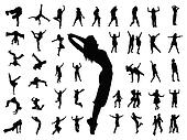 silhouette people jumping dance