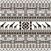 Traditional African pattern with giraffes silhouettes