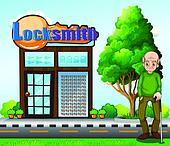 An old man standing in front of the locksmith building