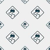 Road slippery icon sign. Seamless pattern with geometric texture.