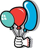 Hand and three birthday balloons