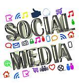 Shiny digital social media words image design