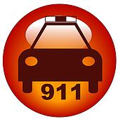 red police web button or icon for calling 911