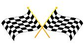 two crossed waving black checkered flags