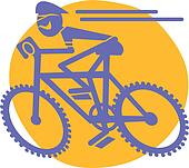 Mountain Biker Riding Bicycle