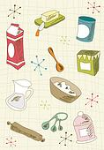 Retro cuisine icon set