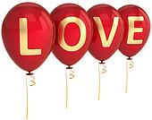 Red love helium balloons