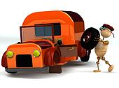 3d wood man change orange truck tire