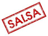Salsa red square grungy stamp isolated on white background