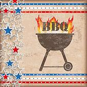 Vintage Background USA Double Stars BBQ