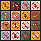 No insect sign icons set, flat style