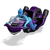 blue alien on a futuristic bike. 3D rendering with clipping path and shadow over white