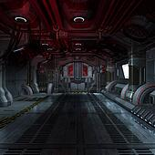 inside a futuristic scifi spaceship 3D rendering for background or composing image