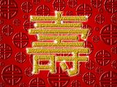 Chinese Birthday Longevity Golden Calligraphy Symbol Red