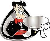 Butler servant holding silver tray