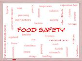 Food Safety Word Cloud Concept on a Whiteboard